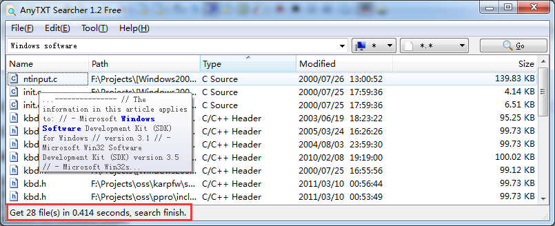 fast search text  in file on PC